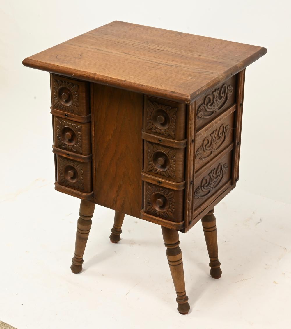 Antique Oak Sewing Drawer Cabinet