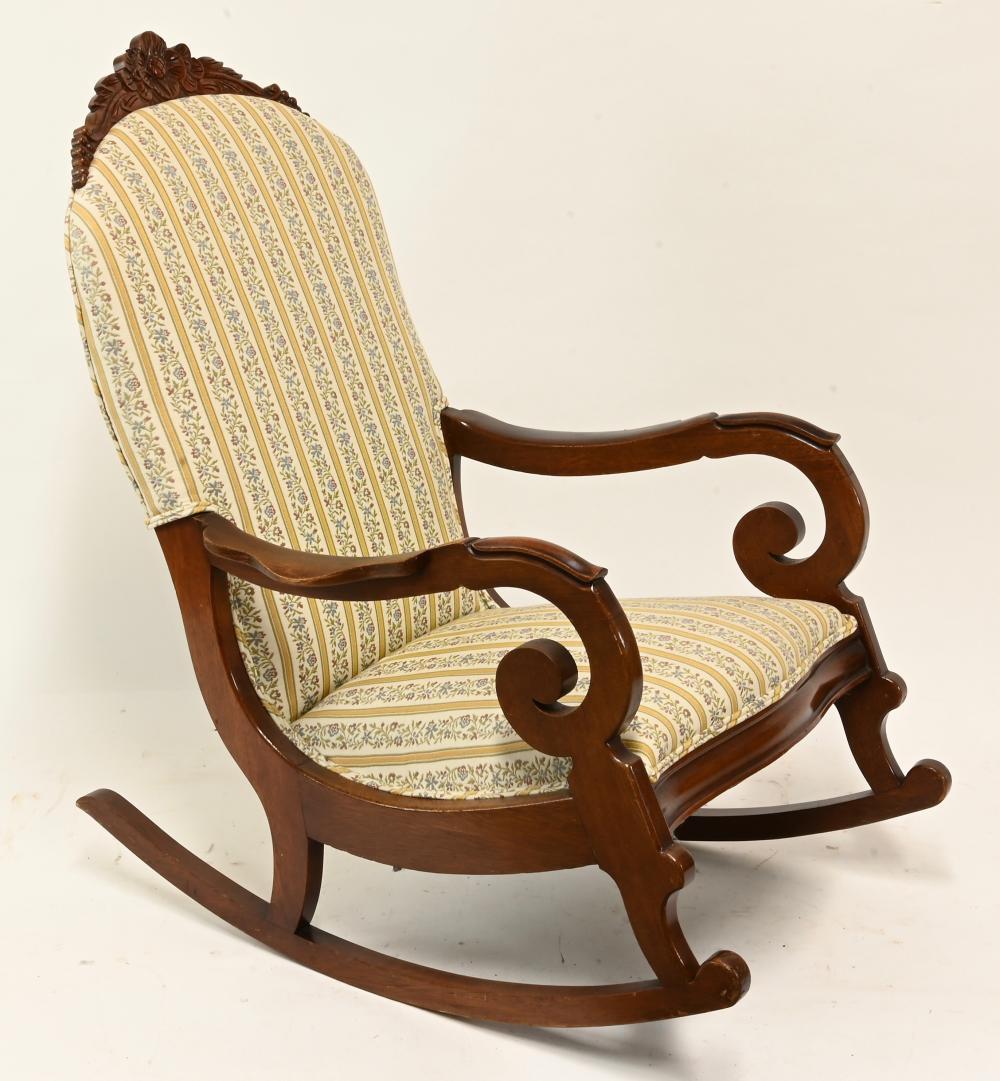 Walnut Victorian Carved Rocking Chair