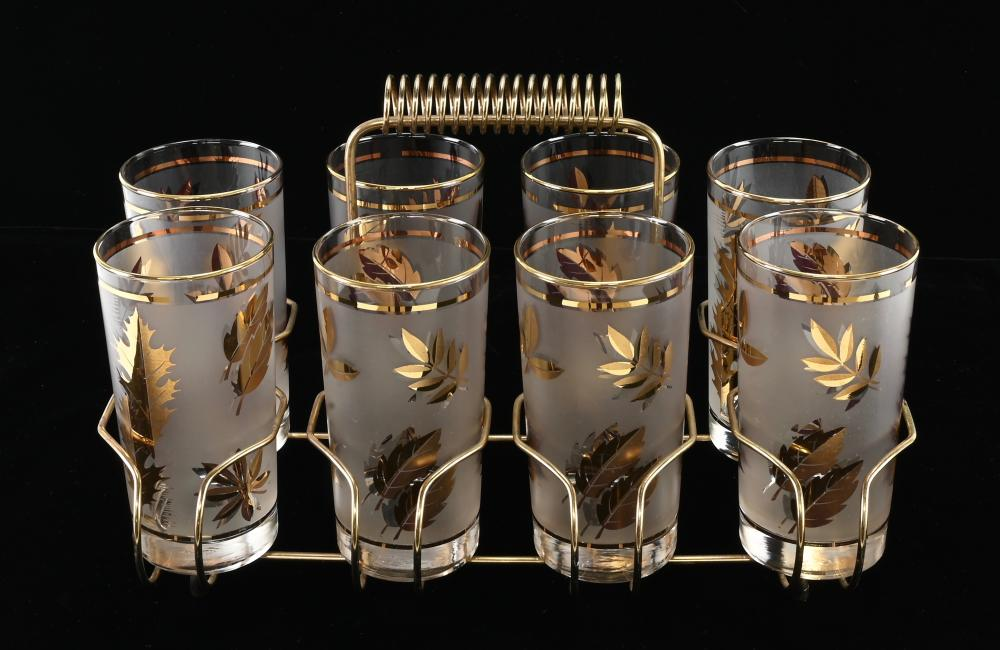 Mid Century Set Of 8 Gold Cocktail Glasses