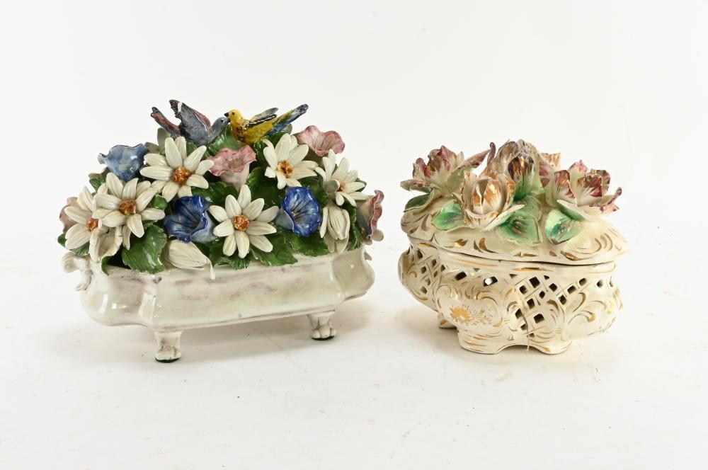 Vintage Large Flower Form Baskets Capodimonte