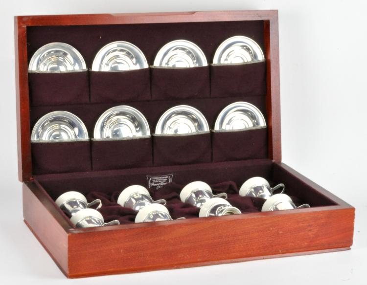 International Sterling Silver Boxed Set Of 8 Demitasse Cups And Saucers
