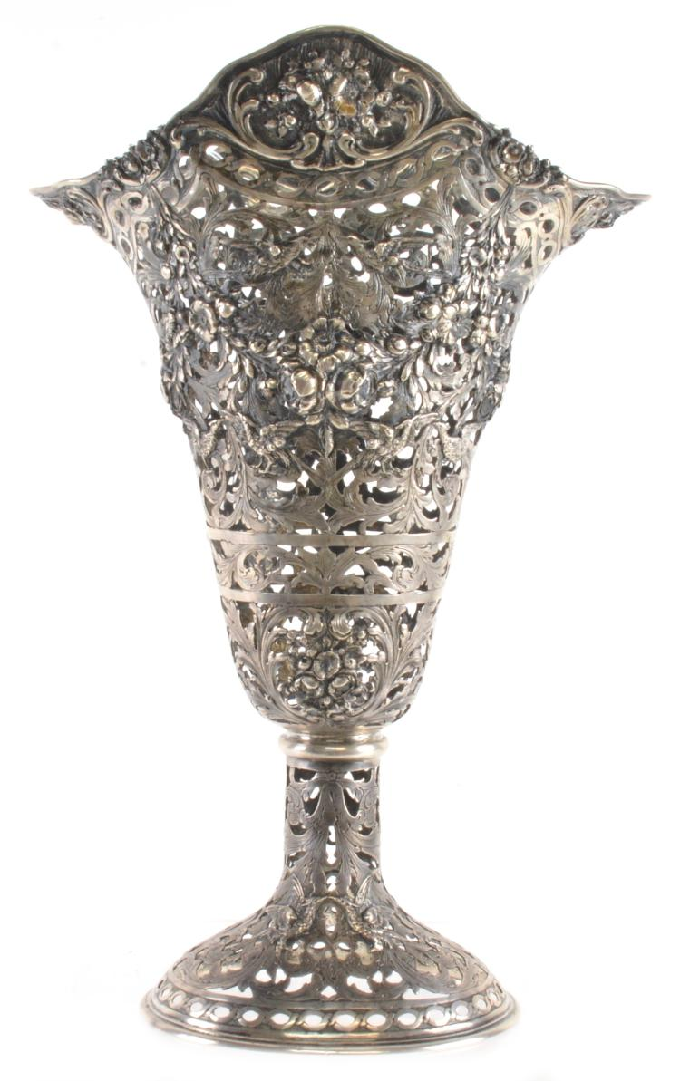German 800 Silver Large Vase