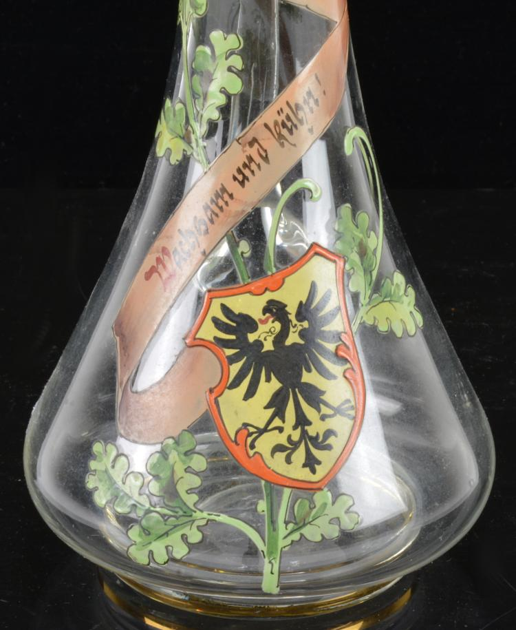 Lot 21: Hand Blown German Kaiser Regimental Glass Cruet