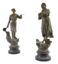 Lot 22: Victorian Pair Spelter Statues