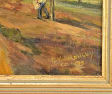 Lot 32: G. Kuniansky Oil On Canvas Orchard In Bloom