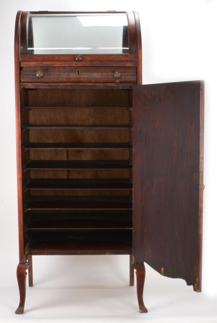 Lot 33: Mahogany Curio Sheet Music Cabinet