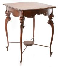 Lot 34: Mahogany Carved Neoclassical Lamp Table