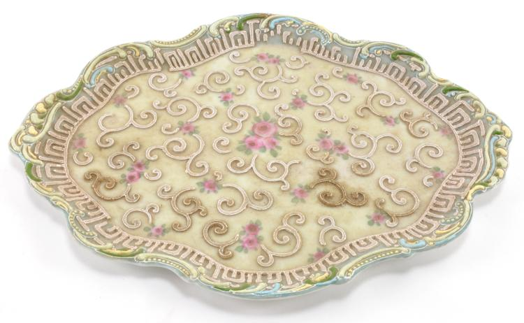 Moriage Hand Painted Dresser Tray