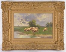 Lot 38: Signed OOC Grazing Sheep Landscape