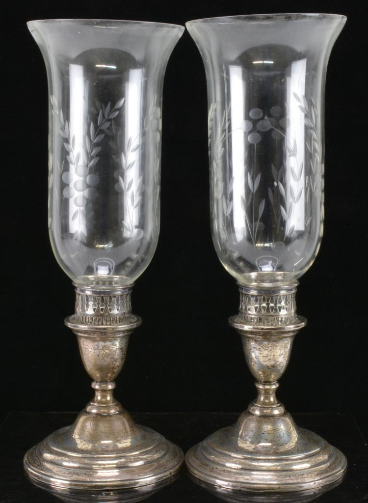 Lot 39: Lord Saybrook International Sterling Hurricane Pair Of Candlesticks