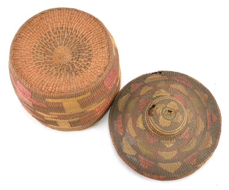 Lot 60: Antique Native American Indian Rattle Top Lidded Basket S. C. G. Watkins Collection