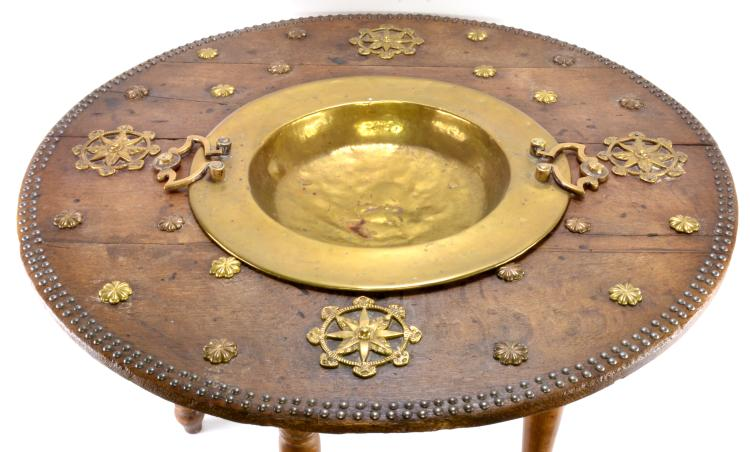 Lot 70: Antique Islamic Persian Table Brass Center Bowl