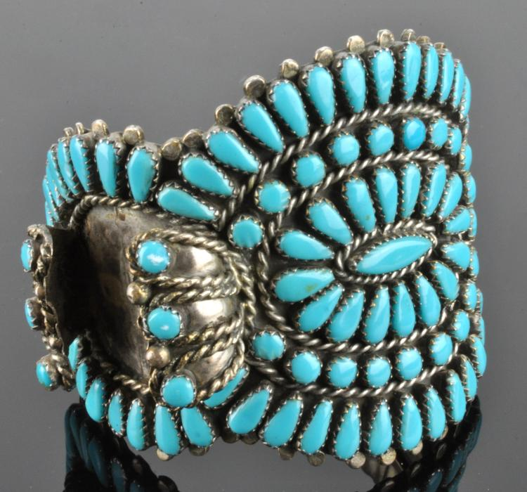 Vintage Zuni Silver Turquoise Watch Bracelet Signed H Y