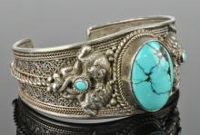 Lot 83: Vintage Chinese Export Filigree Silver Turquoise Bracelet