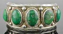 Lot 86: Vintage Southwest Jewelry Silver GreenTurquoise Bracelet