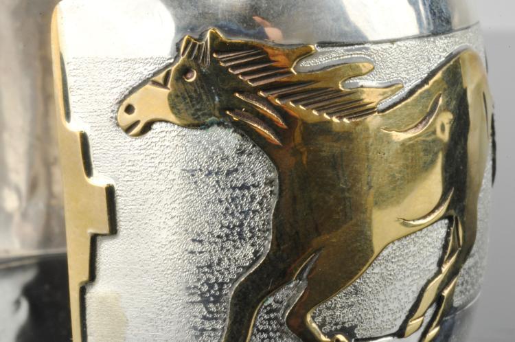 Lot 87: Ihmss V.R Navajo Running Horse Sterling And Gold Bracelet