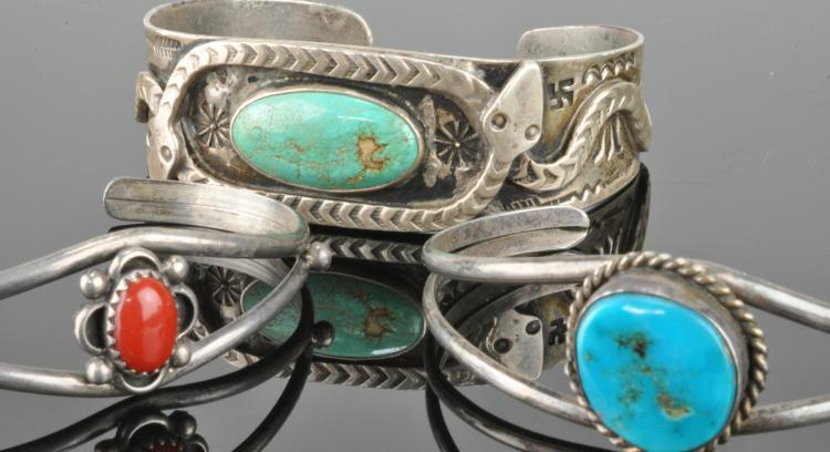Vintage Southwest Navajo Jewelry Silver Bracelets