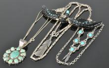Lot 92: Vintage Southwest Navajo Jewelry Silver Necklace Collection