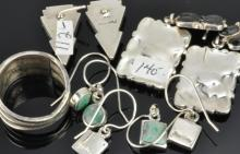 Lot 93: Vintage Southwest Navajo Jewelry Silver Earring Collection