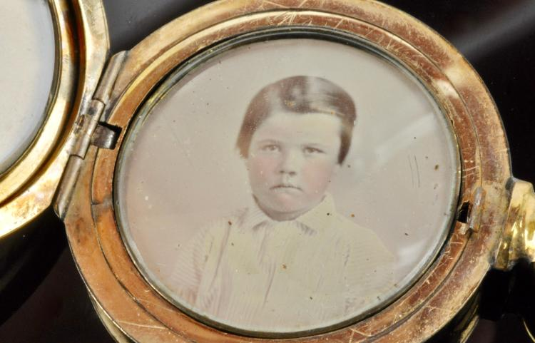 Lot 96: Civil War Era Gold Locket Ambrotype Image