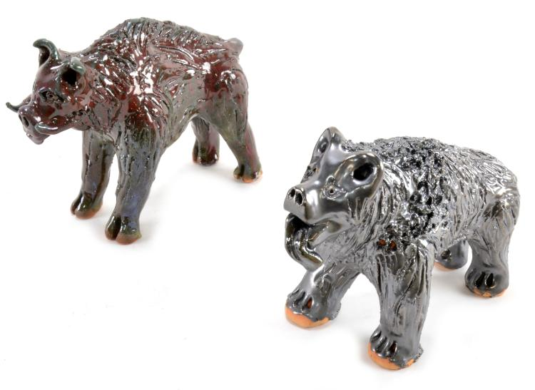 Lot 105: Billy Ray Hussey Folk Pottery Bear & Wild Boar