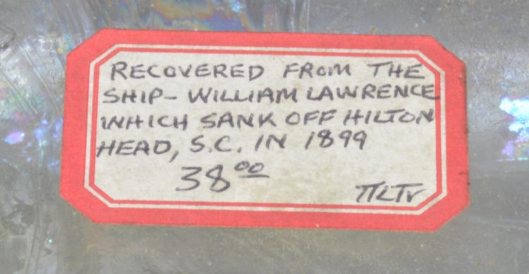 Lot 107: SC Dispensary Bottle Recovered William Lawrence Ship