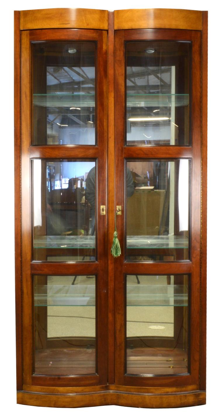 Lot 116: Bow Front Display Cabinet Mount Airy Furniture NC