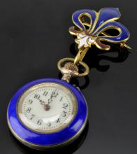 Lot 117: Antique French Ladies Gold Enamel Watch Brooch
