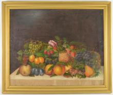 Lot 124: Still Life Fruit Oil Painting