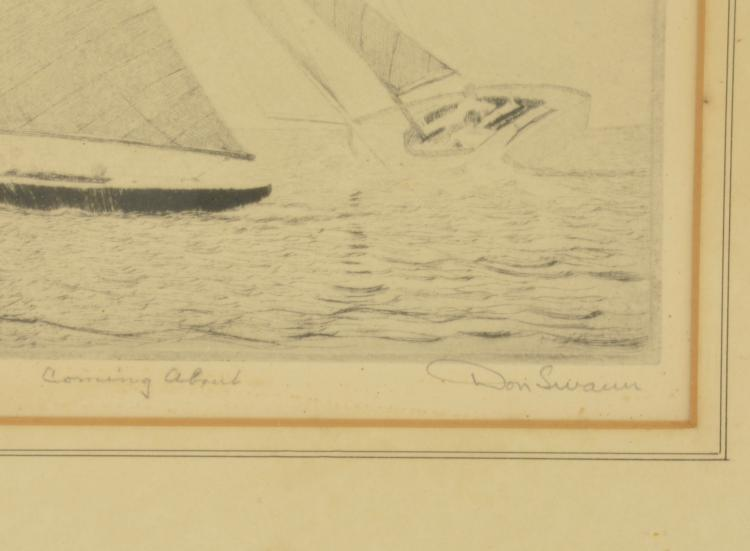 """Lot 132: Don Swann Etching Sailboat """"Come About"""""""