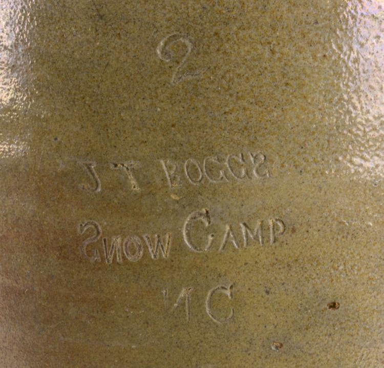 Lot 141: Alamance Co. NC Rare J.T. Boggs Snow Camp NC 2 Gallon Pottery Crock