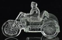 Lot 148: Indian Motorcycle And Sidecar Glass Candy Container