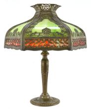 Lot 155: 1920s Stained Glass Overlay Scenic Lamp