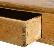 Lot 157: Southern Pine T Stretcher Base Country Work Table