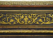 Lot 161: Antique French Rosewood Boulle Marquetry Marble Top Pier Cabinet