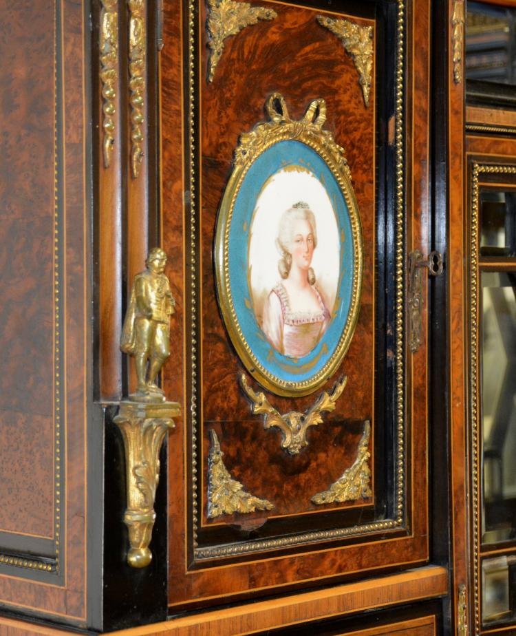 Lot 162: Antique French Ormolu Mounted Etagere Cabinet Sevres Porcelain Plaques