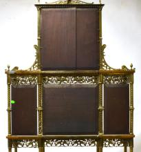 Lot 163: Antique Massive French Brass and Onyx Etagere