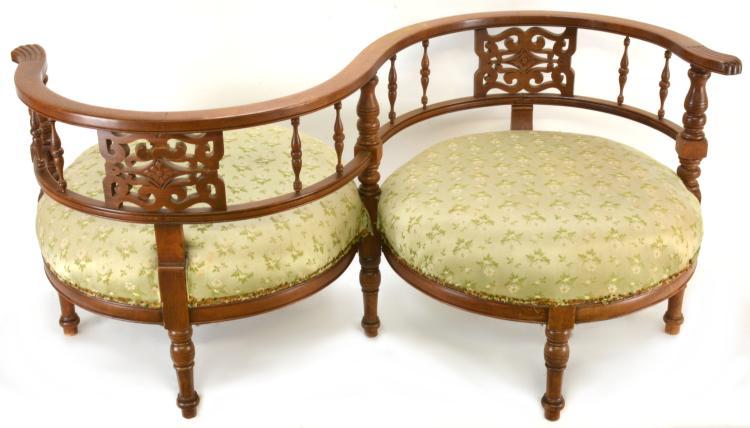 Antique Victorian Mahogany Tete A Tete Settee