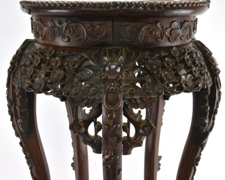Lot 166: Antique Carved Dragons Leg Chinese Fern Stand