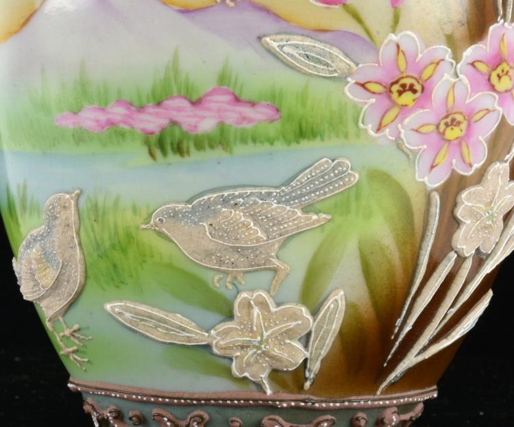 Lot 169: Hand Painted Japan Moriage Porcelain Birds Lakescene Vase