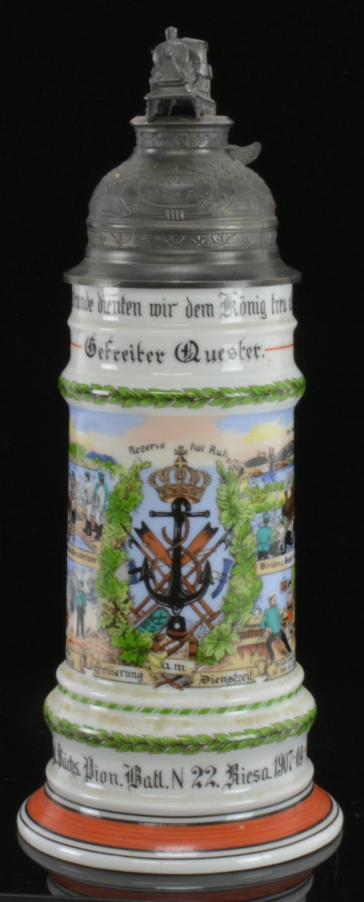 Lot 182: German Regimental Lithophane Railroad Stein