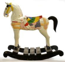 Lot 192: Carved Wooden Carousel Rocking Horse