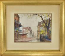 Lot 197: St Peter and Charles Street New Orleans Watercolor
