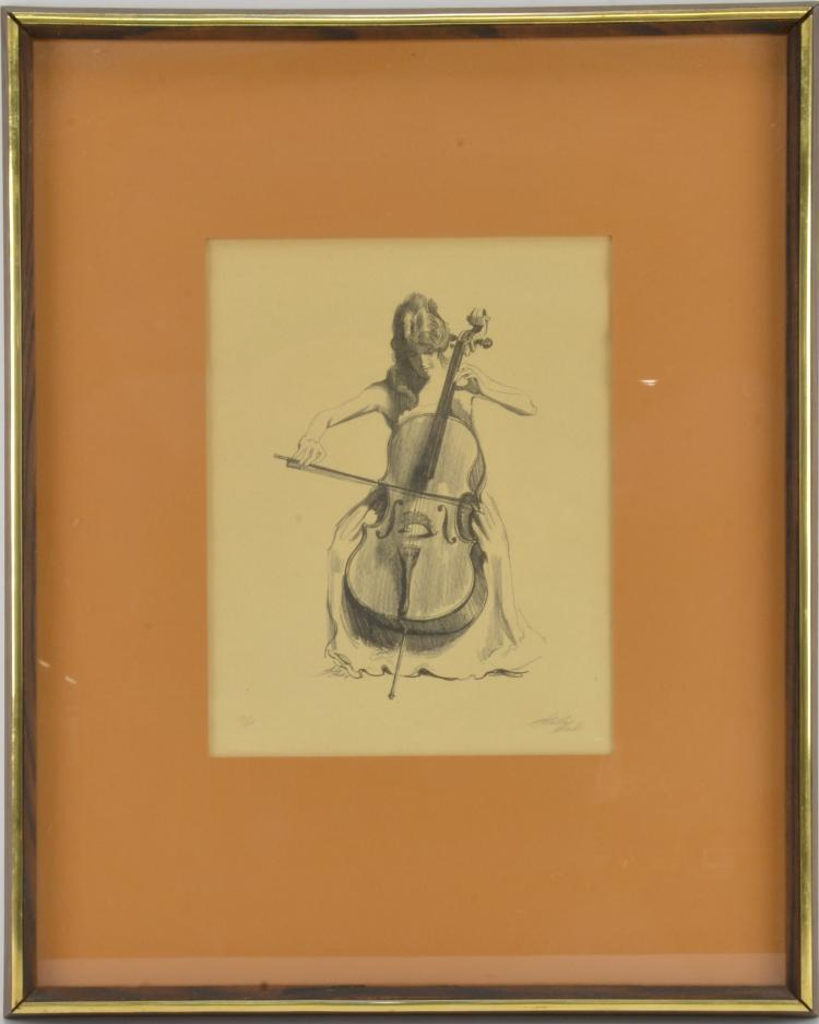 Lot 200: Pencil Signed Nude Drawing Cello Player