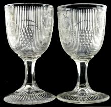 American Flint Goblet Two Ribbed Grape