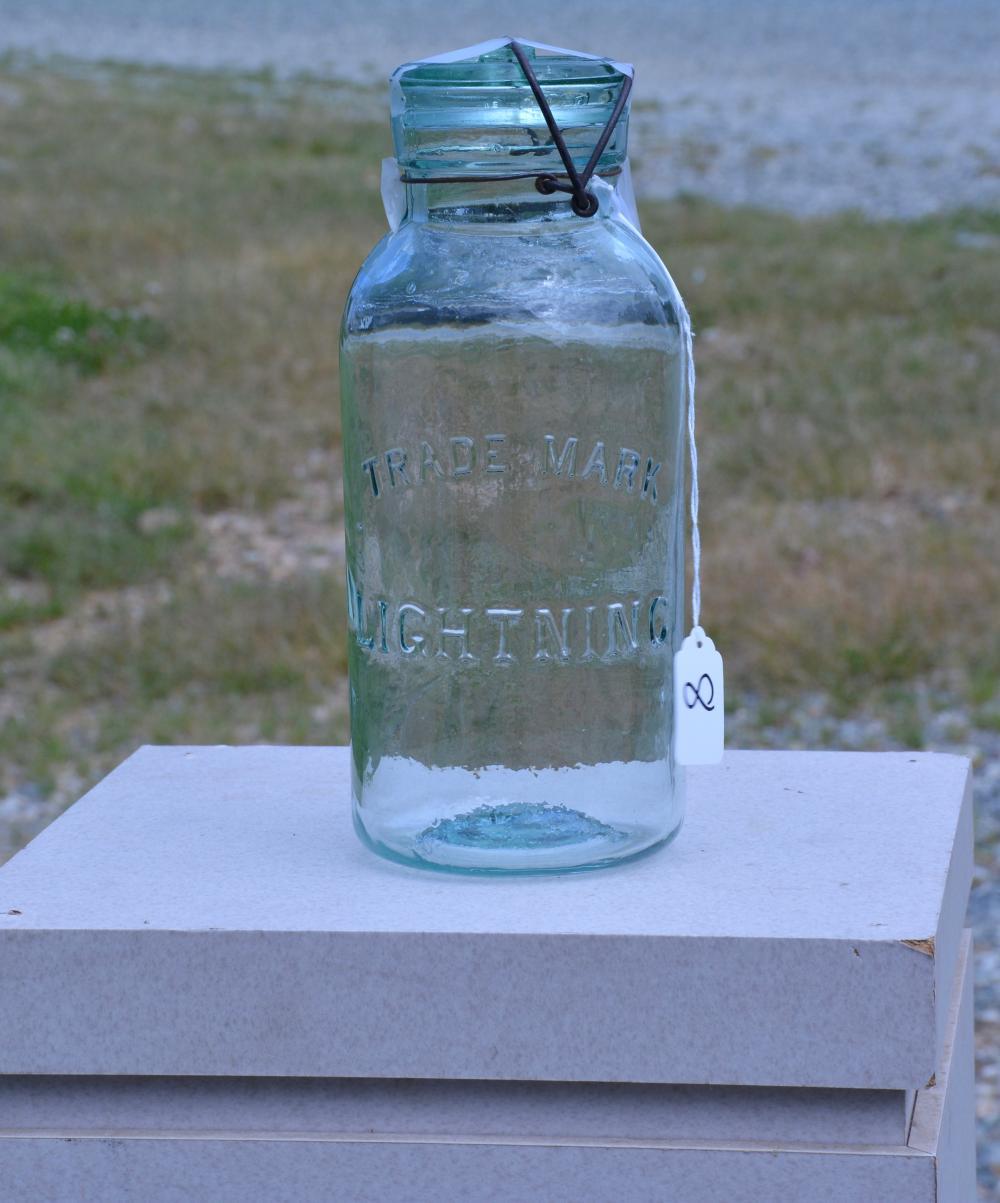 Antique Trade Mark Lighting Half Gallon Fruit Jar