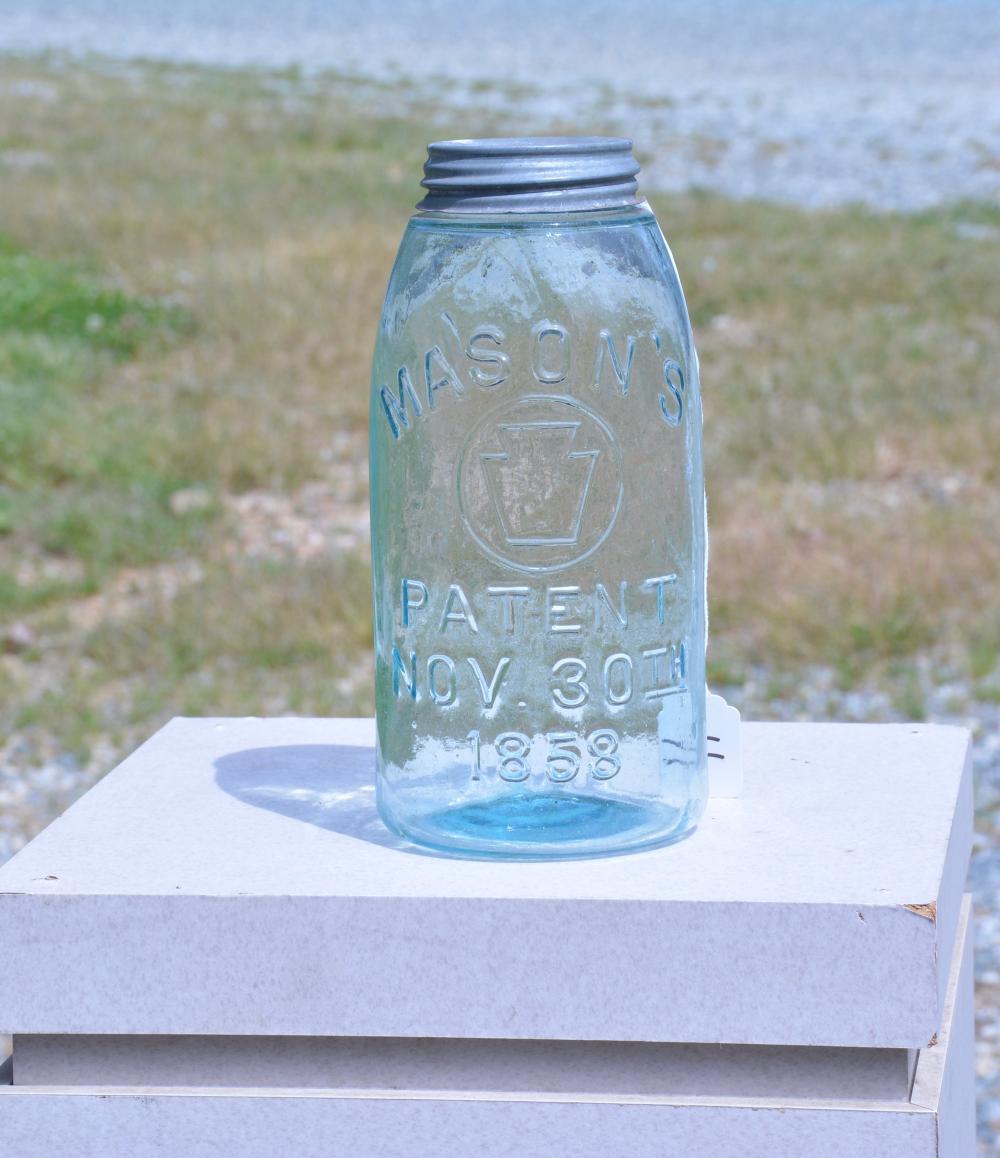 Antique Heavy Embossed Mason's Keystone Half Gallon Fruit Jar