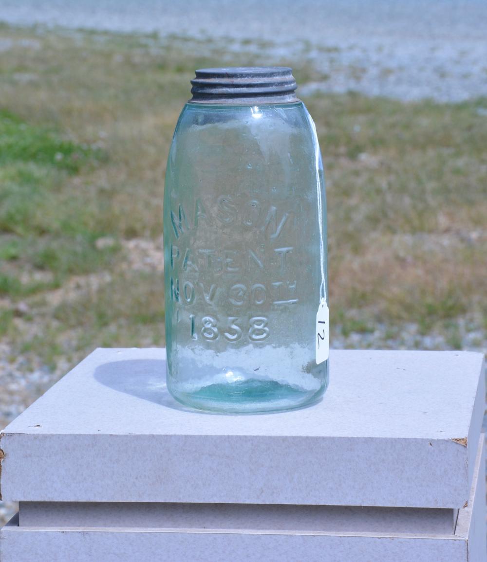 Antique Green Mason 1858 Half Gallon Fruit Jar