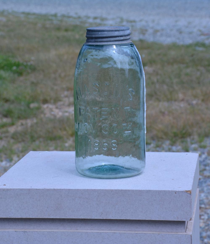Antique Green Mason's 1858 Half Gallon Fruit Jar