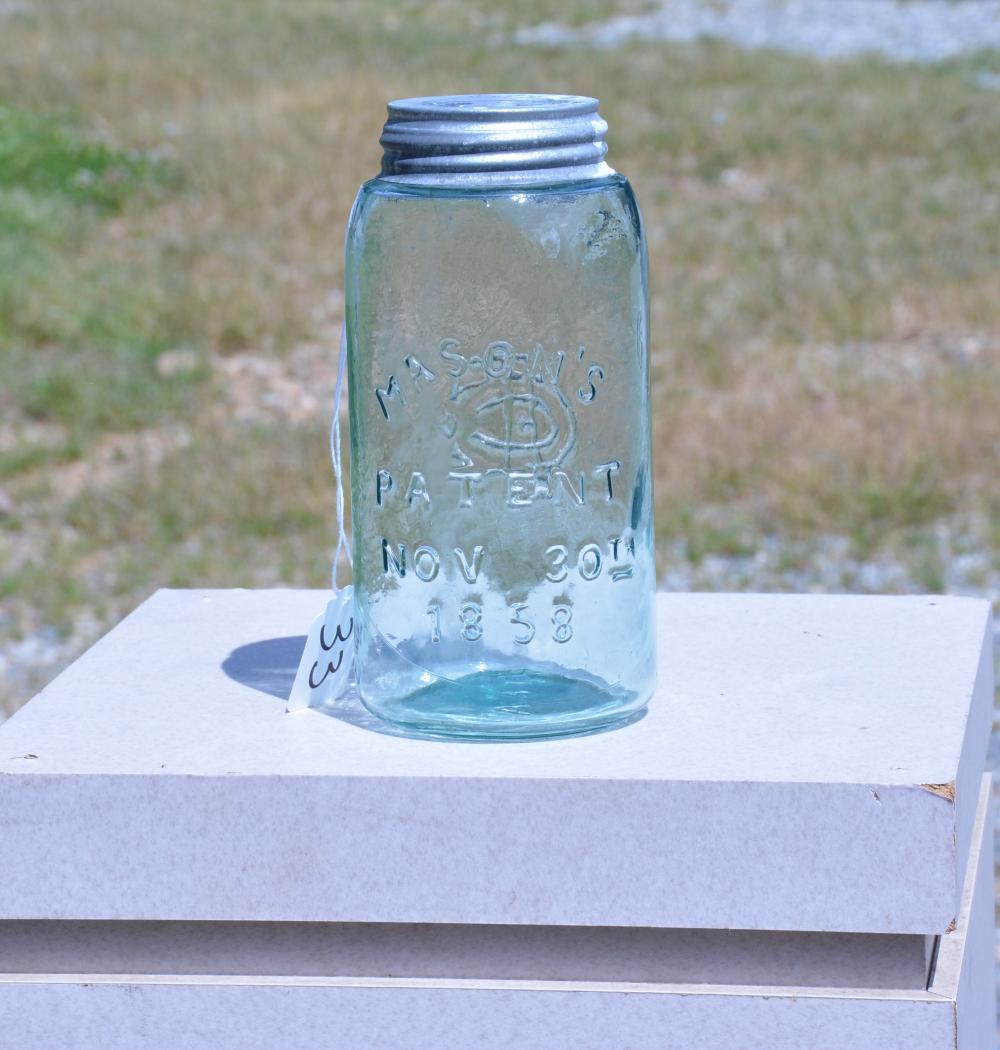 Mason's Monogram 1858 Quart Fruit Jar